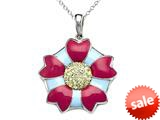"Blue and Pink Enamel Sterling Silver Pendant Necklace with Yellow CZ""s style: BPC1903"