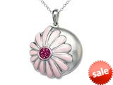 "Pink Enamel Sterling Silver Pendant Necklace with Pink CZ""s style: BPC1906-02RH"