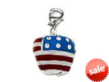 "Red, White, and Blue Enamel Apple Charm with White CZ""s for Charm Braclelet or Smartphone using our Smartphone Plug style: BPC1908"