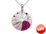 "Pink Enamel Sterling Silver Pendant Necklace with Pink CZ""s style: BPC1920"