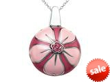 "Pink Enamel Sterling Silver Pendant Necklace with Pink CZ""s style: BPC1924"