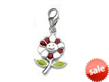 Red and Green Enamel Flower Charm for Charm Braclelet or Smartphone using our Smartphone Plug style: BPP1717