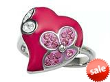 "Pink Enamel Sterling Silver Ring with White and Pink CZ""s style: BRC1469"