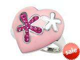 "Pink Enamel Sterling Silver Ring with Pink CZ""s style: BRC1546"