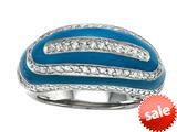 "Blue Enamel Sterling Silver Ring with White CZ""s style: BRC1760"