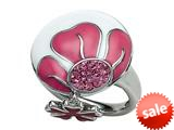 "Pink and White Enamel Sterling Silver Ring with Pink CZ""s and a Dangling Clover Charm style: BRC1971"