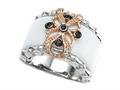 Design by Carlo Viani® 925 Sterling Silver White Agate Ring with White Topaz and Smoky Quartz
