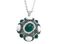 Carlo Viani® 925 Sterling Silver Silver Pendant Necklace, Mix of White Sapphire, Tsavorite, White Agate, and Onyx