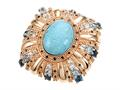 Carlo Viani® 14K Rose Gold Plated Silver Blue Turquoise Ring