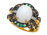 Carlo Viani® White Agate Ring with Brown Diamonds and Tsavorite style: C101-0145