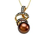 Carlo Viani® South Sea Brown Cultured  Pearl Pendant with Brown Diamonds style: C102-0081