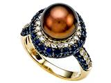 Carlo Viani® South Sea Brown Cultured  Pearl Ring with Brown Diamonds style: C102-0097