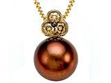 Carlo Viani® South Sea Brown Cultured  Pearl Pendant with Brown Diamonds style: C102-0110
