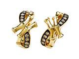 Carlo Viani® Brown Diamonds Bamboo Earrings style: C102-0386