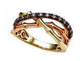 Carlo Viani® Smokey Quartz Bamboo Ring style: C103-0339