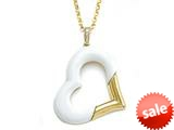 Carlo Viani® Yellow Gold Loop and Yellow Gold Plated Silver White Agate Heart Shape Pendant Necklace style: C103-0236