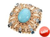 Carlo Viani® 14K Rose Gold Plated Silver Blue Turquoise Ring style: C110-0008
