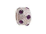 Zable™ Sterling Silver February Crystal Ball Non-oxidized Bead / Charm style: BZ1039