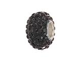 Zable™ Sterling Silver Pave Black Crystals Bead / Charm style: BZ1065