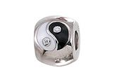 Zable™ Sterling Silver Enameled Yin/Yang Pandora Compatible Bead with CZ Pandora Compatible Bead / Charm style: BZ1100