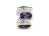 Zable™ Sterling Silver Bezel Set Ovals February Pandora Compatible Bead / Charm style: BZ1122