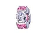 "Zable™ Sterling Silver Pink and White CZ""s Bead / Charm style: BZ1162"
