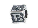 Zable™ Sterling Silver Baby Block Pandora Compatible Bead / Charm style: BZ2082