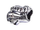 Zable™ Sterling Silver Happy Anniversary Pandora Compatible Bead / Charm style: BZ2129