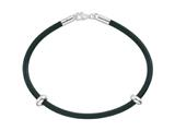 Zable™ Sterling Silver 7 inch by 3mm Rubber Bracelet for Pandora Compatible Bead / Charm style: BZB265