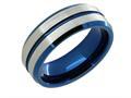 Lancello Tungsten 8mm with Blue IP Plating Wedding Band