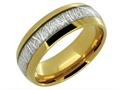 Lancello Tungsten 8mm Yellow IP Plating Etched Wedding Band