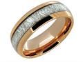 Lancello Tungsten 8mm Rose IP Plating Etched Wedding Band