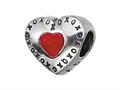 "Zable™ Sterling Silver Red Heart with XO""s Bead / Charm"