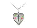 Finejewelers Sterling Silver 16mm Heart and Cross Locket, 16-18 Inch Adjustable Box Chain