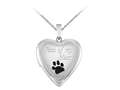 Finejewelers Sterling Silver 20mm Paw Of My Heart Locket, 16-18 Inch Adjustable Box Chain