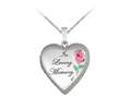 Finejewelers Sterling Silver 20mm Heart In Loving Memory Locket, 16-18 Inch Adjustable Box Chain