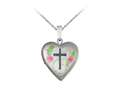 Finejewelers Sterling Silver 20mm Heart Cross Locket, 16-18 Inch Adjustable Box Chain