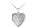 Finejewelers Sterling Silver 20mm Heart Tree Of Life Locket, 16-18 Inch Adjustable Box Chain