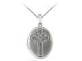 Finejewelers Sterling Silver 20x25mm Oval Cross Locket, 16-18 Inch Adjustable Box Chain