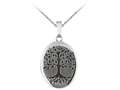 Finejewelers Sterling Silver 20x25mm Oval Tree Of Life Locket, 16-18 Inch Adjustable Box Chain