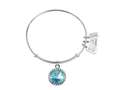 Wind And Fire Bright Rhodium Finish Expandable Bangle December Birth Month