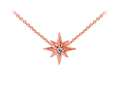 Wind And Fire Rose Tone North Star with Crystal Dainty Pendant Necklace With 18 Inch Adjustable Chain