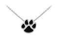 Wind And Fire Black Enameled Paw Print Dainty Pendant Necklace With 18 Inch Adjustable Chain