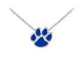 Wind And Fire Blue Enameled Paw Print Dainty Pendant Necklace With 18 Inch Adjustable Chain