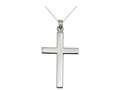 Finejewelers 925 Sterling Silver Rhodium Plain 38 x 20 mm Cross Pendant Necklace Chain Included