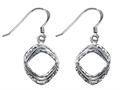 Stellar White™ Rhodium Shepherd Hook Bright Cut Square Earrings