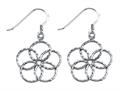 Stellar White™ Rhodium Bright Cut Flower Shepherd Hook Earrings