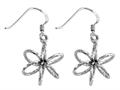 Stellar White™ Rhodium 3D Bright Cut Shepherd Hook Earrings