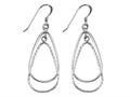 Stellar White™ Rhodium Pear Alt Bright Cut Shepherd Hook Earrings