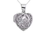 Sterling Silver Rhodium Heart Filigree Locket Pendant Necklace Chain Included style: CG3268